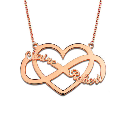 Personalized Ladies' Eternal Love Gold Plated/Silver Plated/Platinum Plated With Heart Name Necklaces For Bride/For Bridesmaid/For Couple