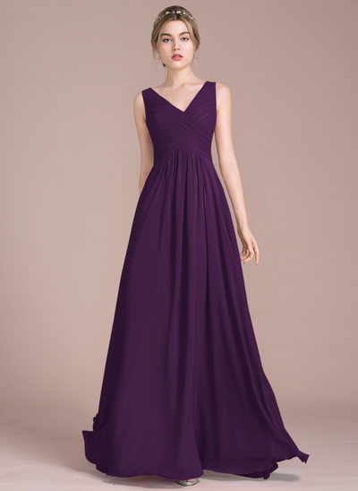 A-Line Princess V-neck Floor-Length Chiffon Bridesmaid Dress With Ruffle c2b2d78f15b8