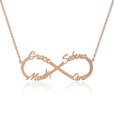 Custom 18k Rose Gold Plated Silver Infinity Four Name Necklace Infinity Name Necklace - Valentines Gifts