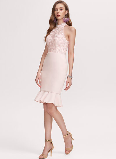 Trumpet/Mermaid Scoop Neck Knee-Length Stretch Crepe Homecoming Dress With Lace