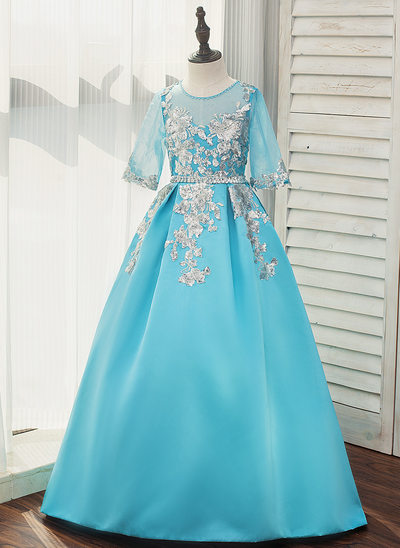 Ball Gown Sweep Train Flower Girl Dress - Satin/Tulle 3/4 Sleeves Scoop Neck With Beading/Sequins