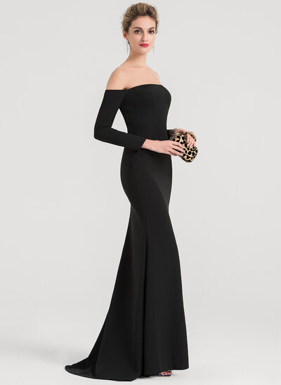 Trumpet/Mermaid Off-the-Shoulder Sweep Train Satin Evening Dress