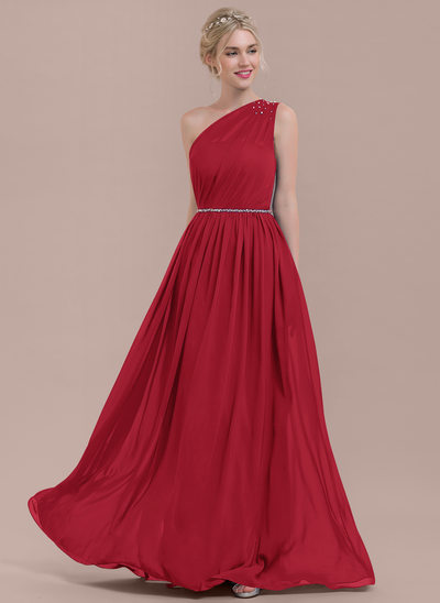 A-Line/Princess One-Shoulder Floor-Length Chiffon Bridesmaid Dress With Ruffle Beading Sequins