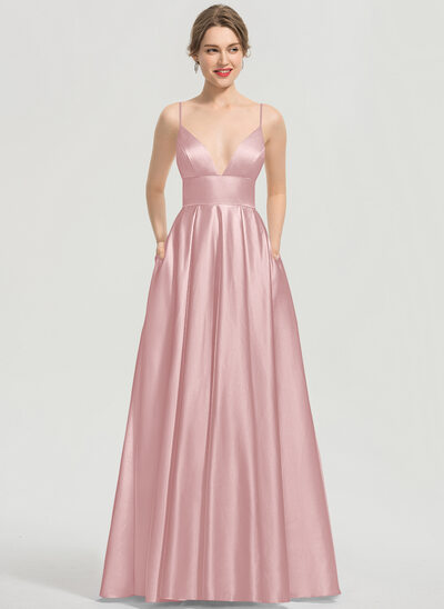 A-Line V-neck Floor-Length Satin Prom Dresses With Pockets