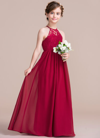 A-Line Princess Scoop Neck Floor-Length Chiffon Junior Bridesmaid Dress 35483667360f