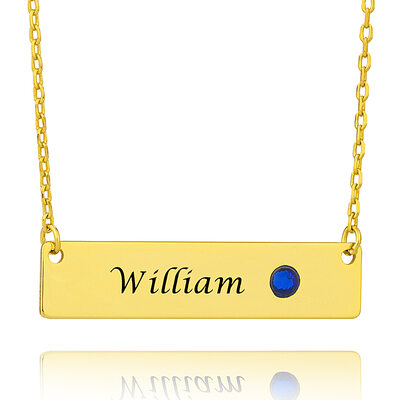 Custom 18k Gold Plated Birthstone Bar Necklace - Christmas Gifts