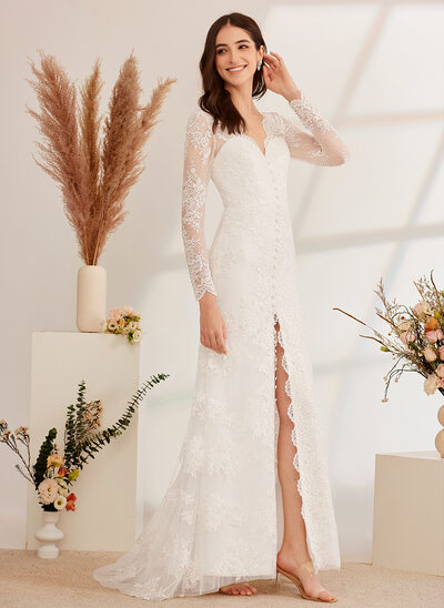 [Free Shipping]A-Line V-neck Sweep Train Wedding Dress With Beading Sequins Split Front