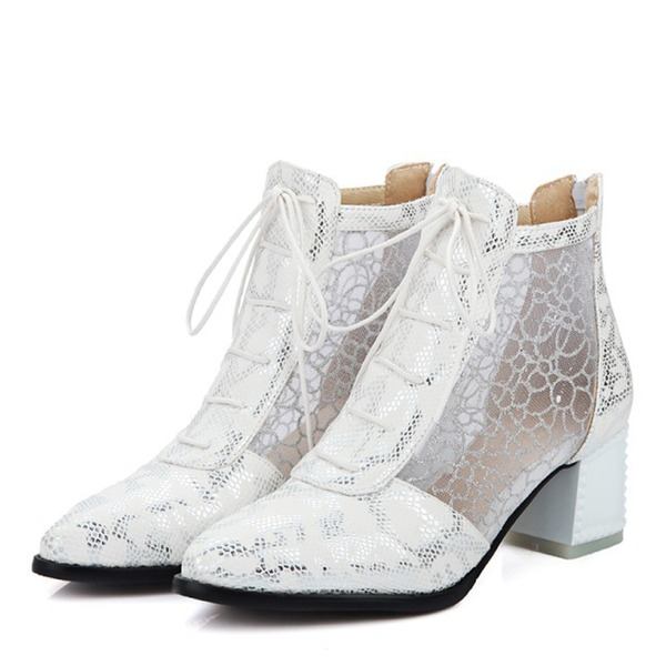 Women's Leatherette Chunky Heel Boots Closed Toe With Lace-up
