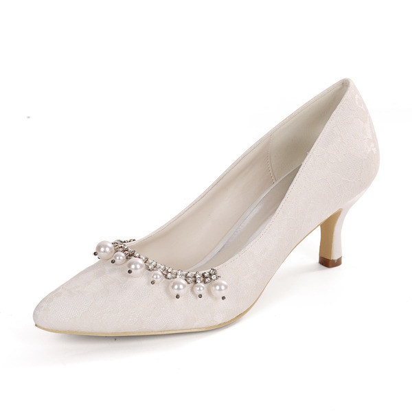 Women's Lace Satin Low Heel Pumps With Pearl