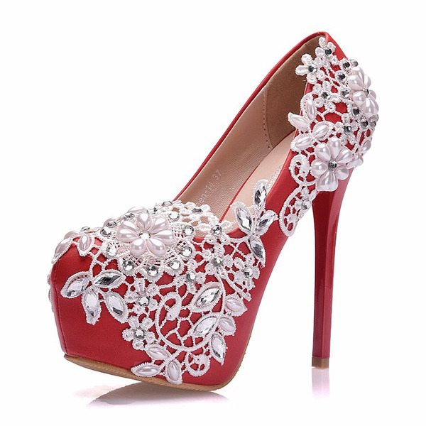 Women's Leatherette Stiletto Heel Closed Toe Pumps With Imitation Pearl Rhinestone Stitching Lace