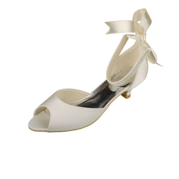 Women's Satin Kitten Heel Peep Toe Sandals With Crystal