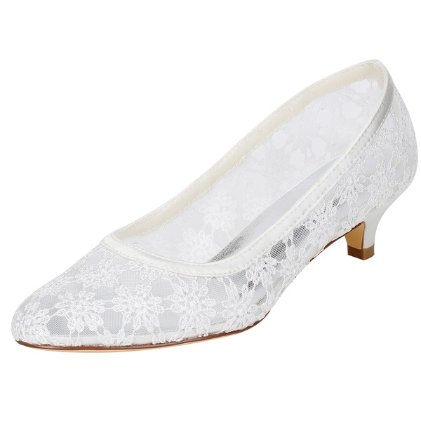 Women's Lace Kitten Heel Pumps With Hollow-out