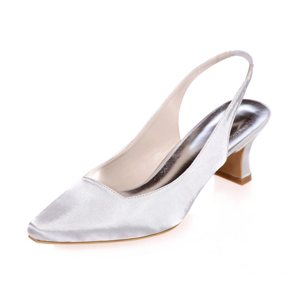 Women's Satin Chunky Heel Closed Toe Pumps Slingbacks