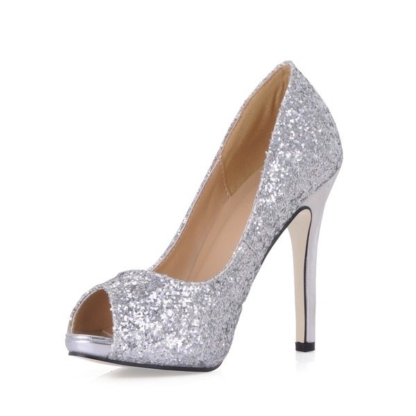 Women's Sparkling Glitter Stiletto Heel Peep Toe Platform Sandals With Sequin