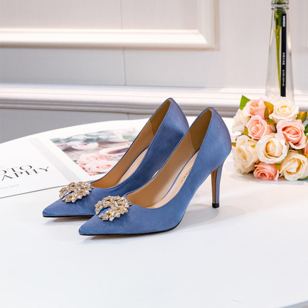 Women's Satin Stiletto Heel Pumps With Beading
