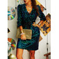 Sequins Sheath V-Neck Long Sleeves Midi Party Dresses
