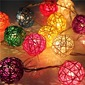 Color Rattan Balls LED Lights String 5M x 20 LEDs DIY Wedding Party Decoration or Christmas Decor (Sold in a single piece)