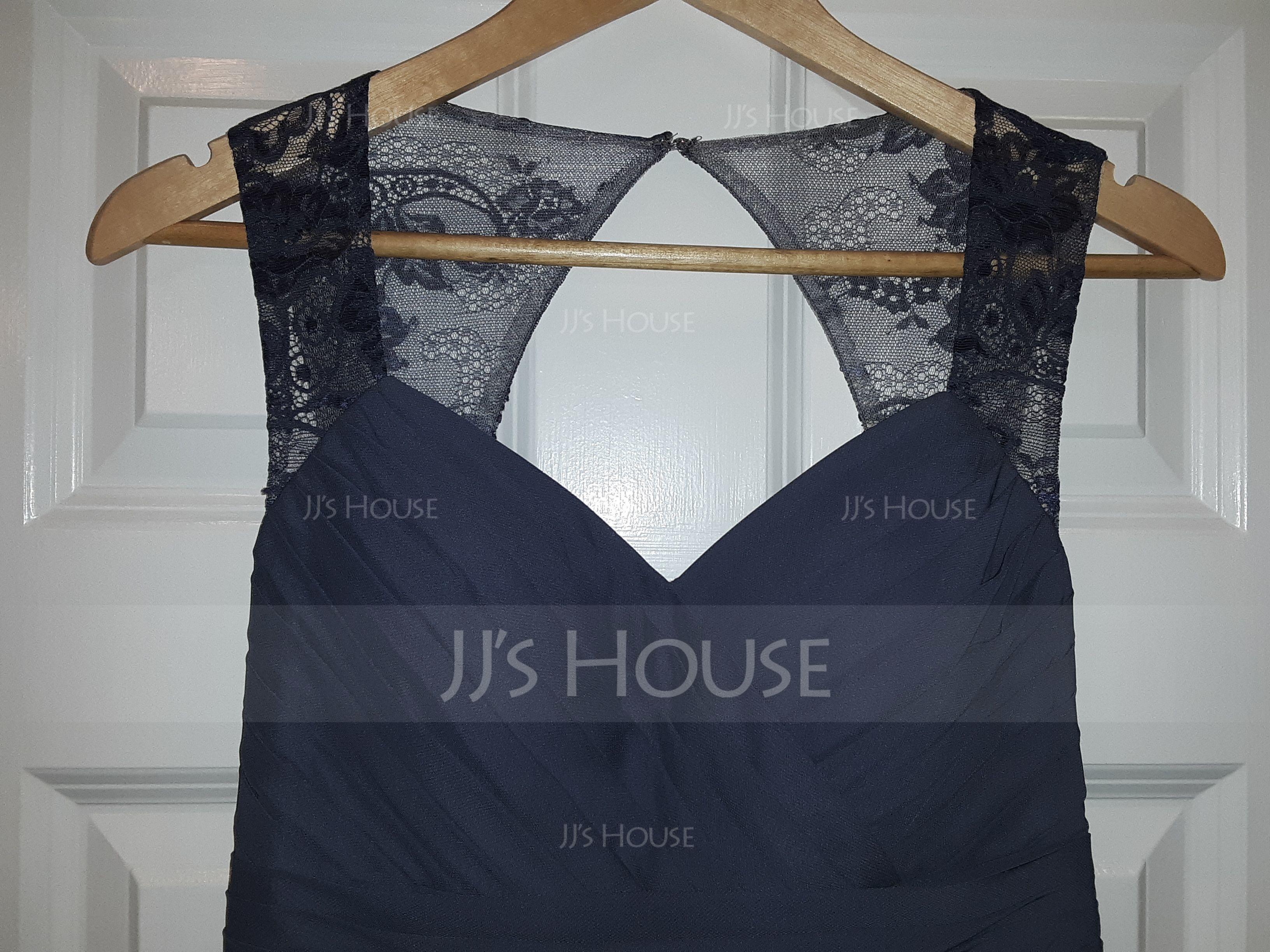 A-linjainen/Prinsessa Kultaseni Ylipitkä/Laahus Sifonki Morsiusneitojen mekko jossa Rypytys Pitsi (007116636)