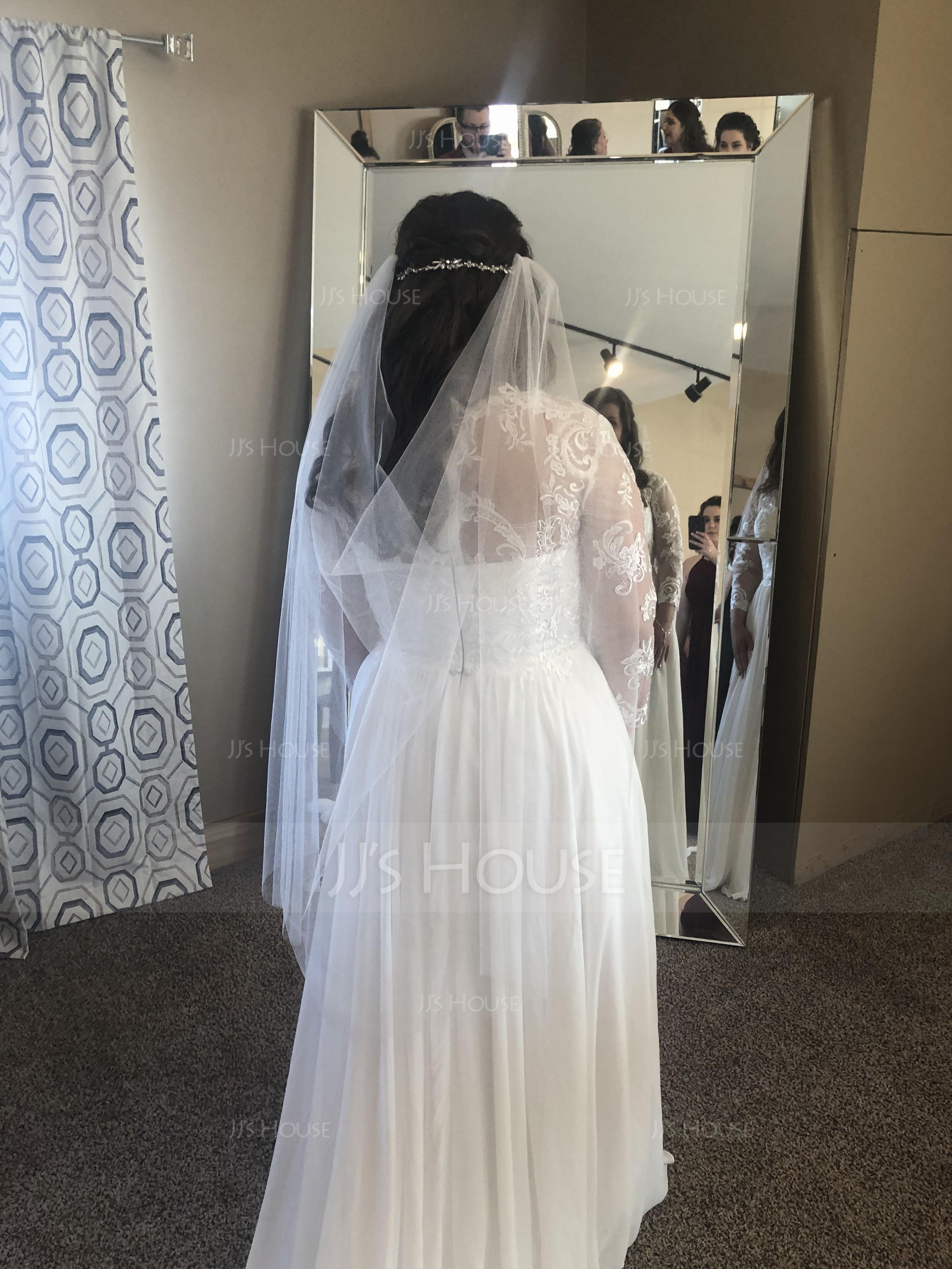 A-Line/Princess V-neck Sweep Train Chiffon Lace Wedding Dress With Beading Sequins (002134553)