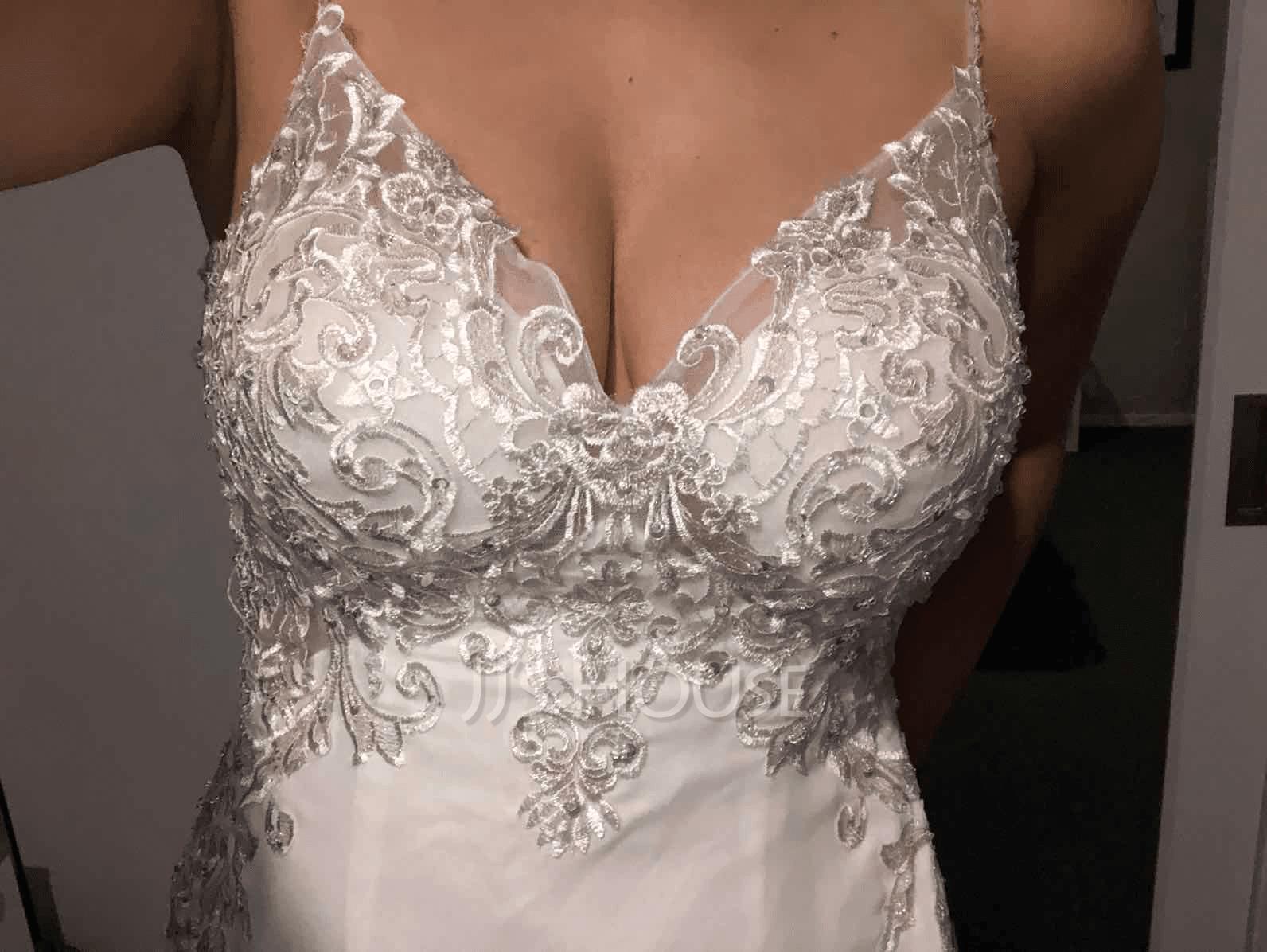 Corte trompeta/sirena Escote en V Barrer/Cepillo tren Gasa Encaje Vestido de novia con Lentejuelas