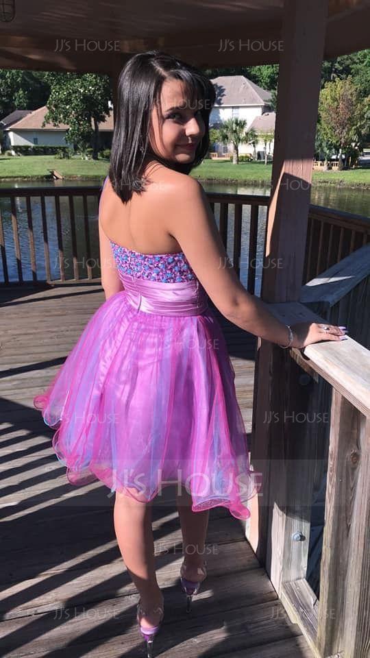 Forme Princesse Seule-épaule Court/Mini Tulle Robe de soirée étudiante avec Plissé Brodé Paillettes (022020910)