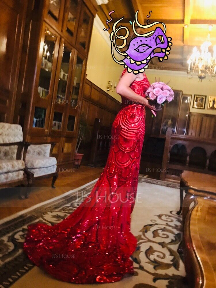 Trumpettimekot/Merenneito V-kaula-aukko Ylipitkä/Laahus Paljetein koristeltu Tanssiaismekot jossa Helmikoristelu (018146378)