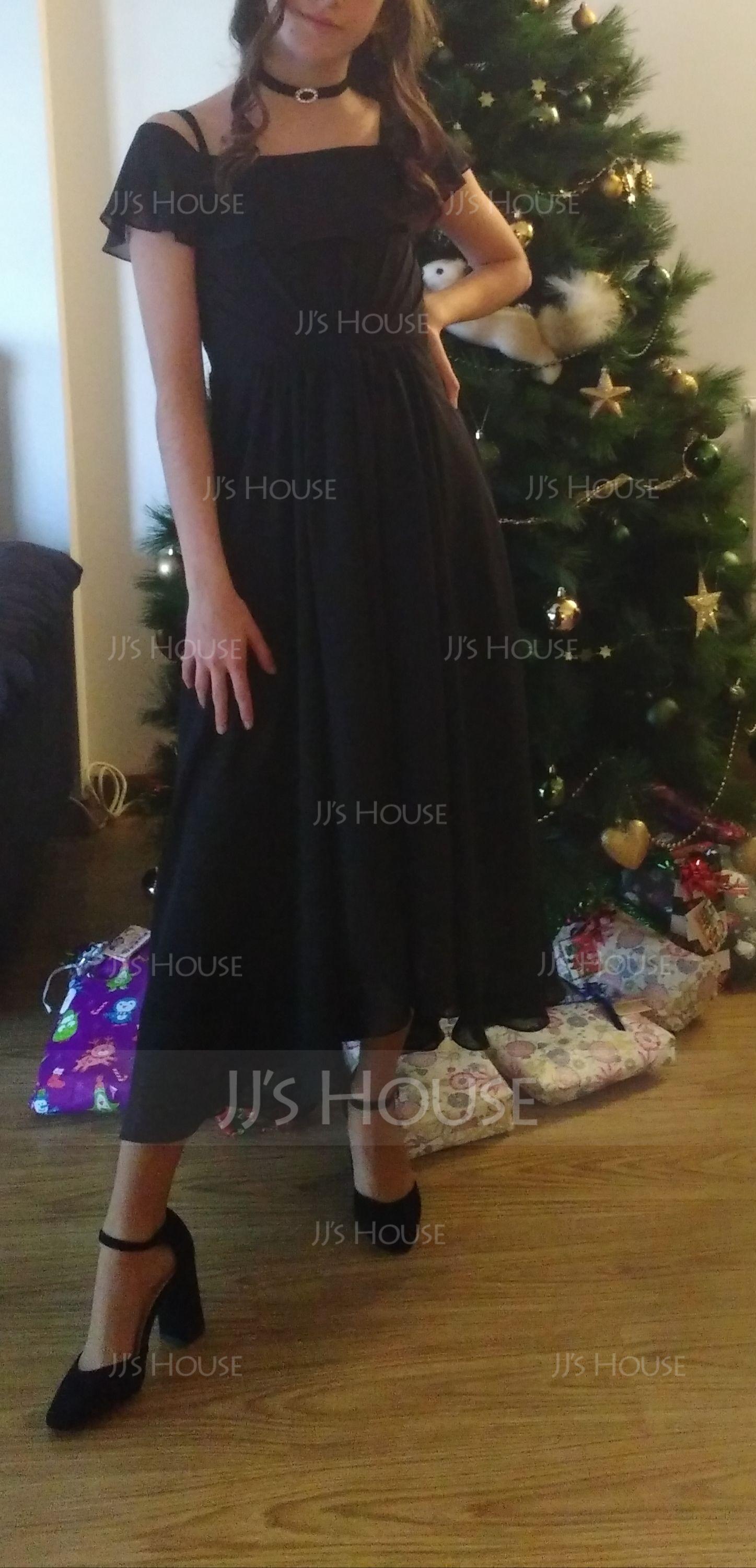 Linia A Dekolt typu Carmen Asymetryczny Szyfon Suknie dla Młodszej Druhny Z Ruffles kaskadowe
