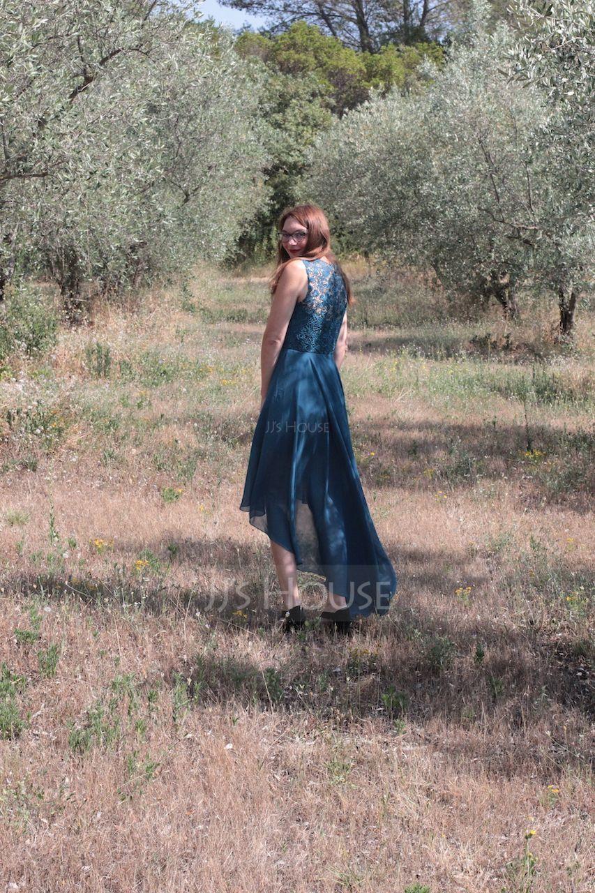 A-Line/Princess Scoop Neck Asymmetrical Chiffon Lace Bridesmaid Dress (266183759)