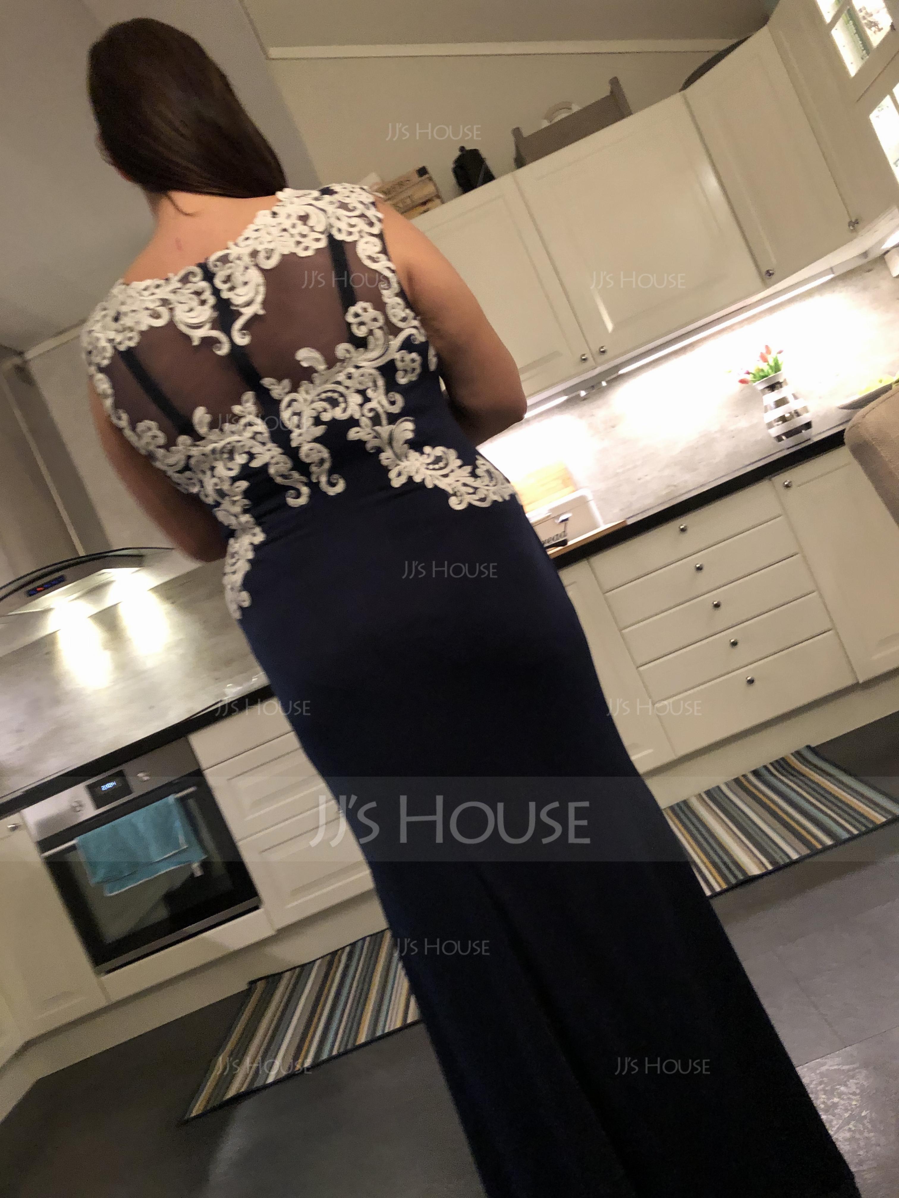 Sheath/Column Scoop Neck Floor-Length Jersey Evening Dress (271194568)