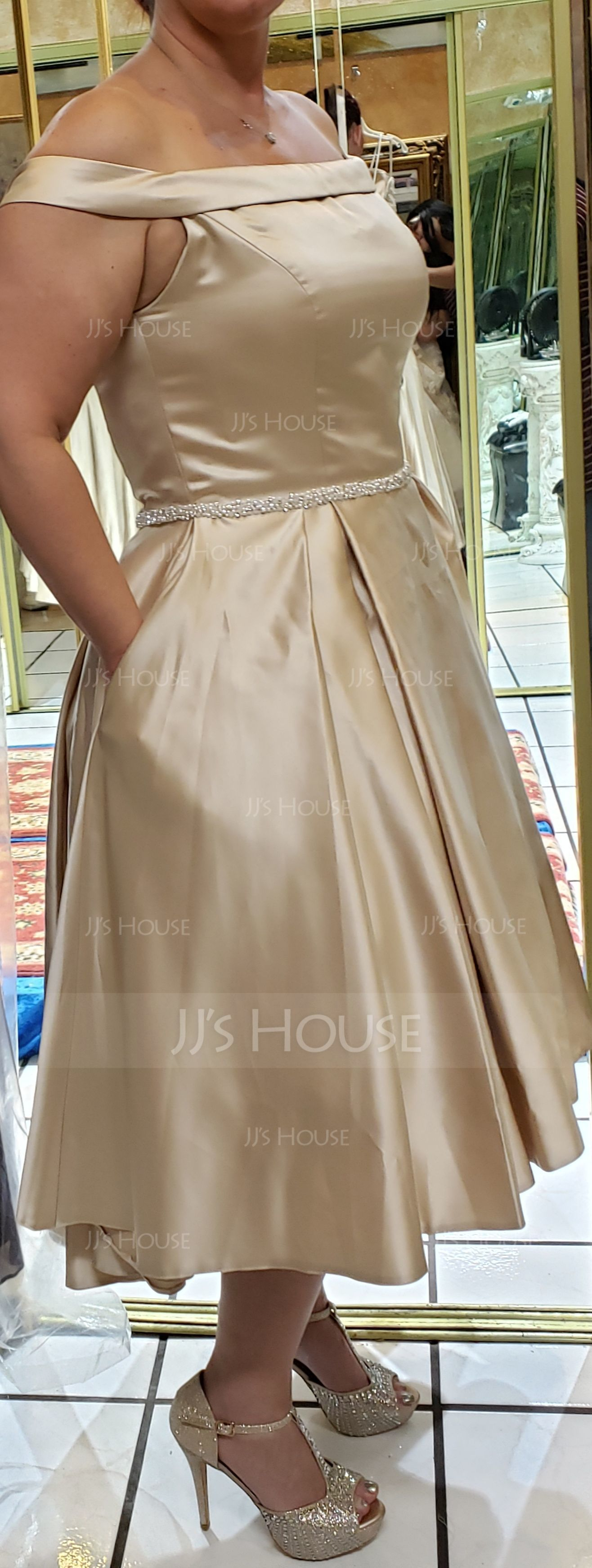 Ball-Gown/Princess Off-the-Shoulder Asymmetrical Satin Wedding Dress With Beading Pockets (002171961)