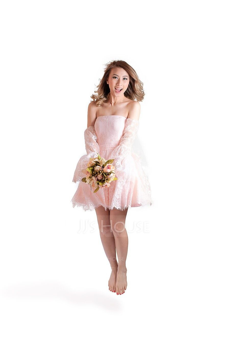 A-Line/Princess Off-the-Shoulder Short/Mini Lace Homecoming Dress (022124878)