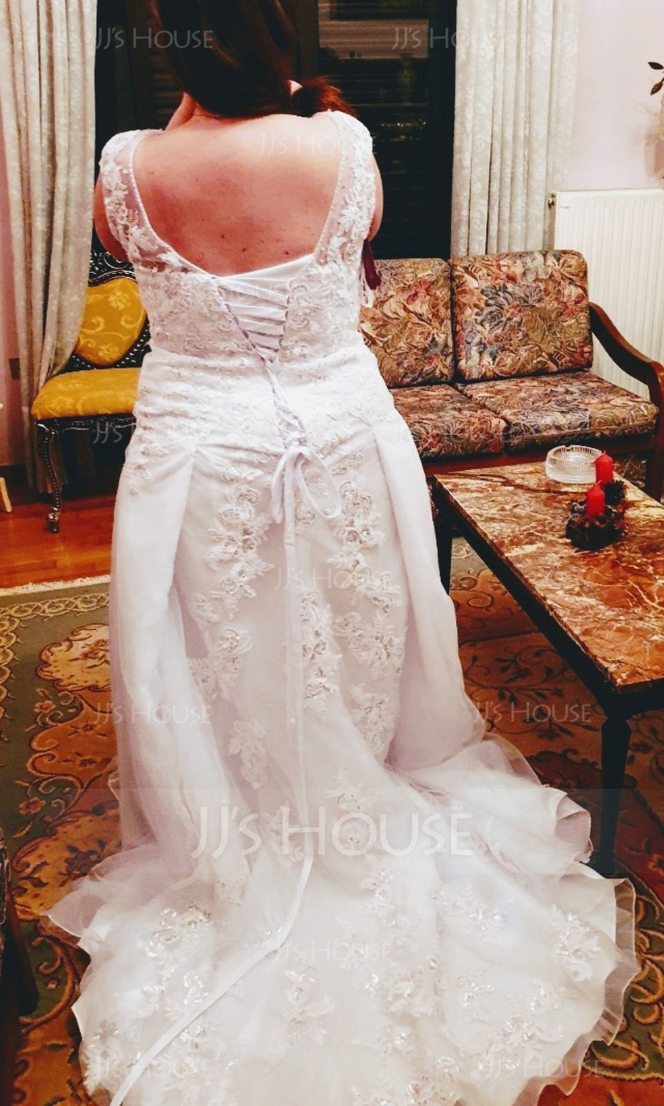 A-Line/Princess V-neck Court Train Tulle Lace Wedding Dress With Beading Sequins (002117023)