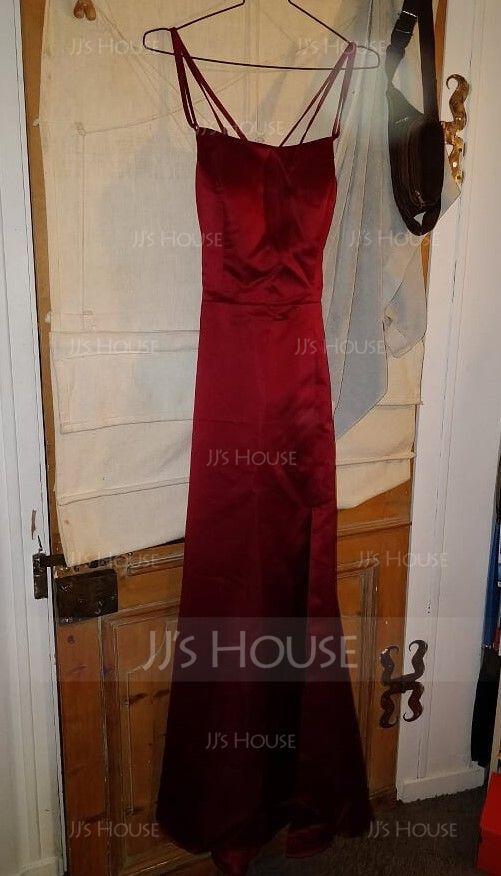 シース スクエアネック マキシレングス サテン プロム用ドレス とともに スプリットフロント