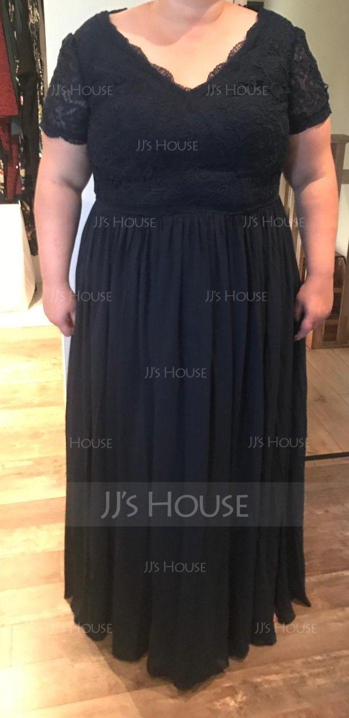 A-Line V-neck Floor-Length Chiffon Evening Dress (017198652)