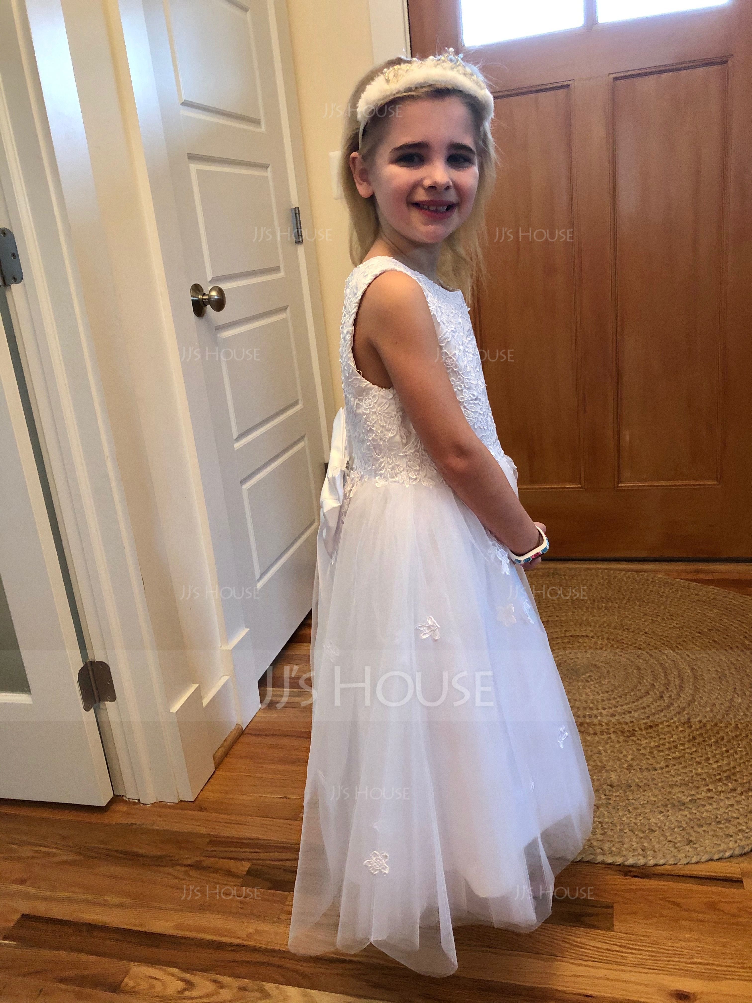 A-Line/Princess Tea-length Flower Girl Dress - Satin/Tulle Sleeveless Scoop Neck With Bow(s) (010094047)
