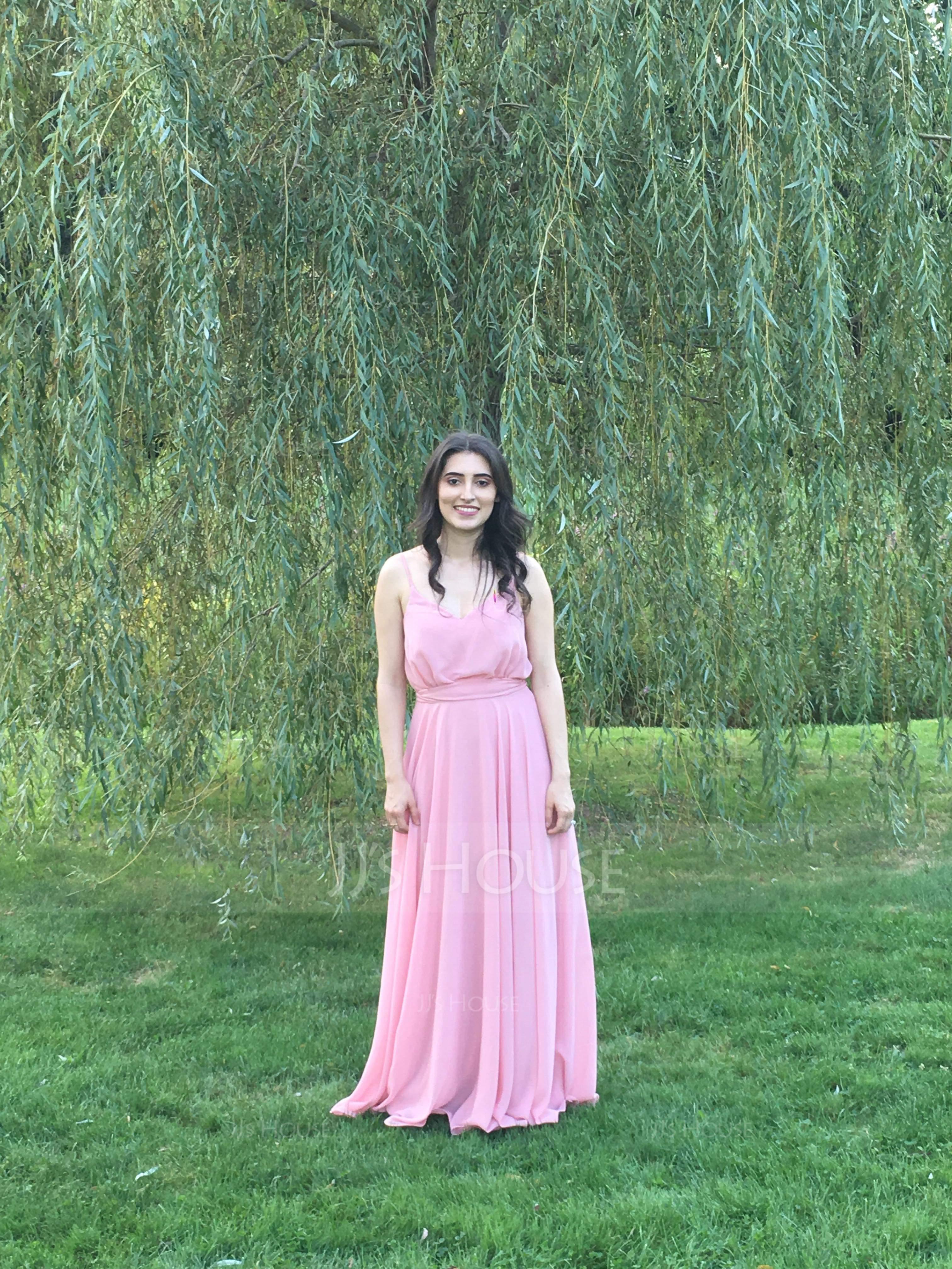 A-Line/Princess V-neck Floor-Length Chiffon Bridesmaid Dress With Bow(s) (007144765)