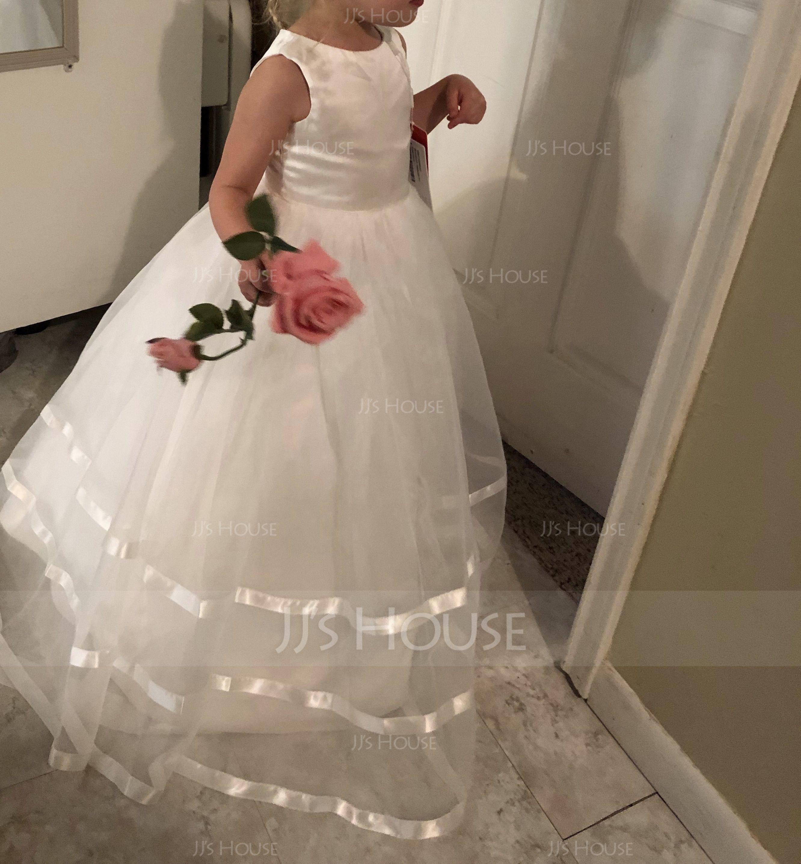 Duchesse-Linie/Princess Bodenlang Blumenmädchenkleid - Organza/Satin Ärmellos U-Ausschnitt mit Schleife(n) (Unterkleid nicht im Lieferumfang enthalten) (010094142)