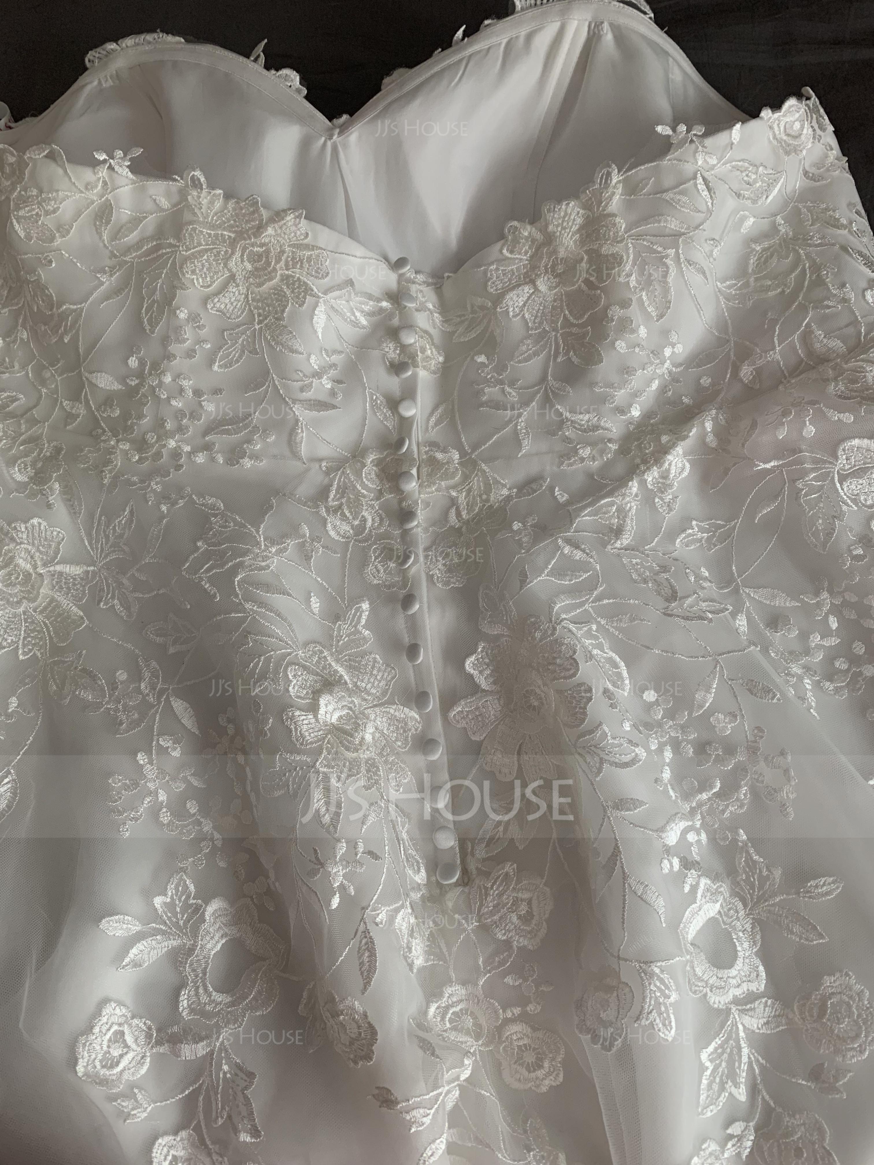 Ball-Gown/Princess Sweetheart Court Train Tulle Wedding Dress (002186389)