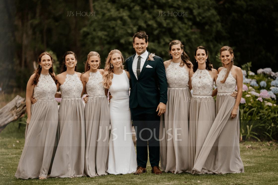 A-Line Scoop Neck Floor-Length Chiffon Lace Bridesmaid Dress (007126467)