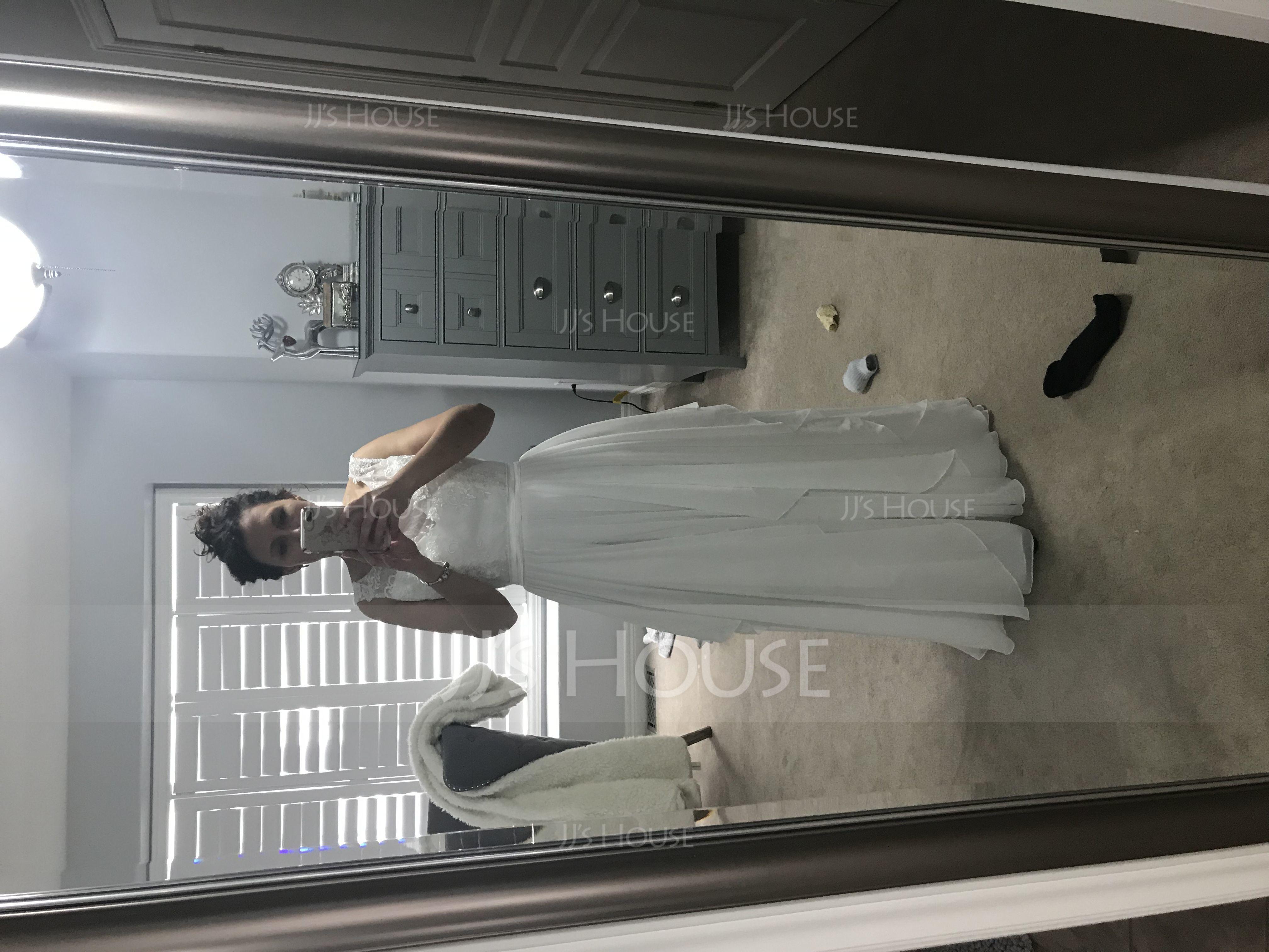 A-Linje Illusion Golvlång Chiffong Bröllopsklänning med Svallande Krås (002119799)