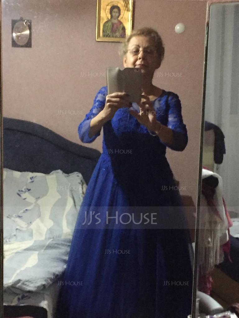 A-Linie/Princess-Linie U-Ausschnitt Bodenlang Tüll Kleid für die Brautmutter mit Perlstickerei Pailletten (008085294)