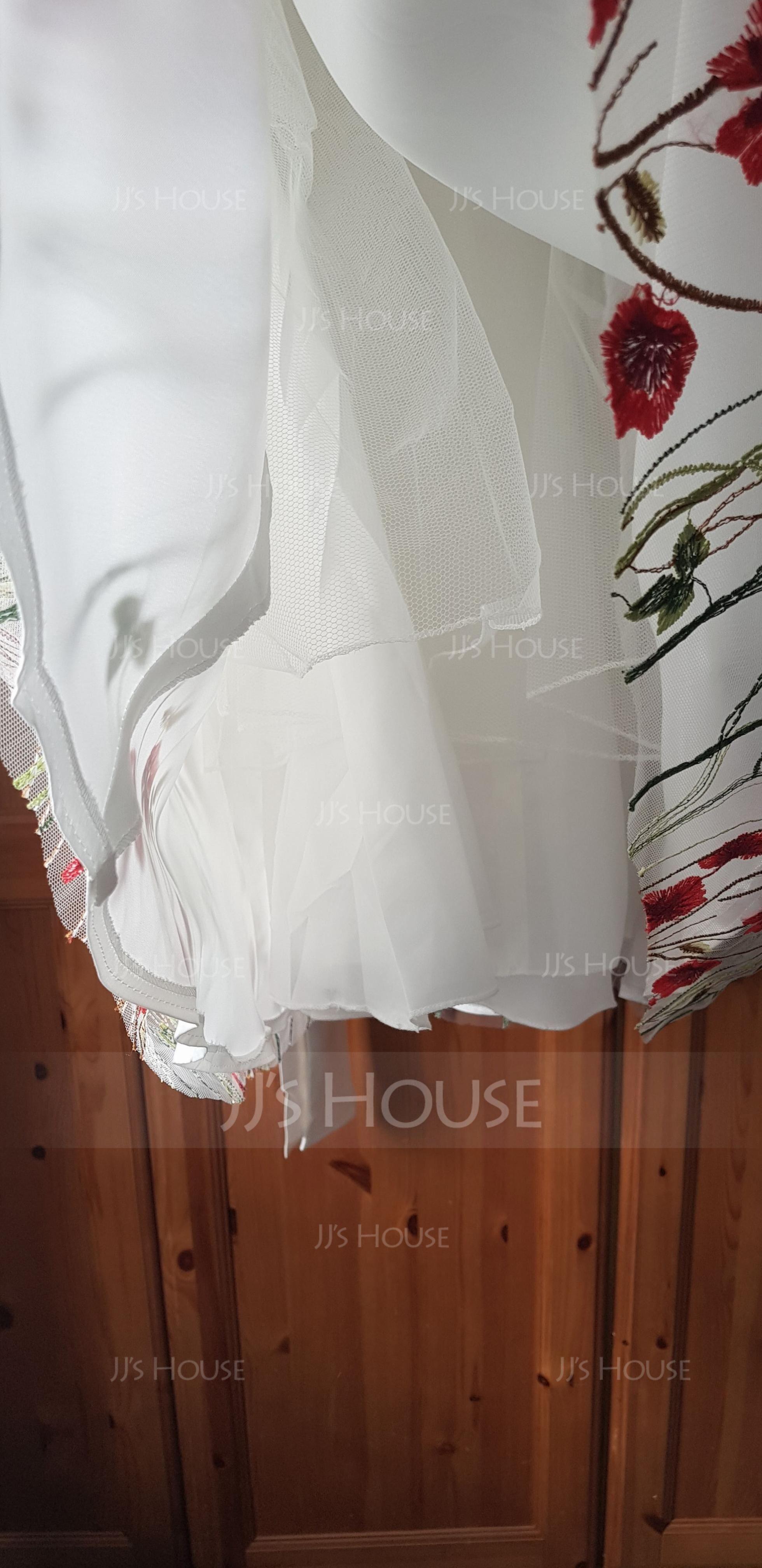 Aライン マキシレングス フラワーガールのドレス - ジャカール 袖なし Vネック とともに フラワー/弓