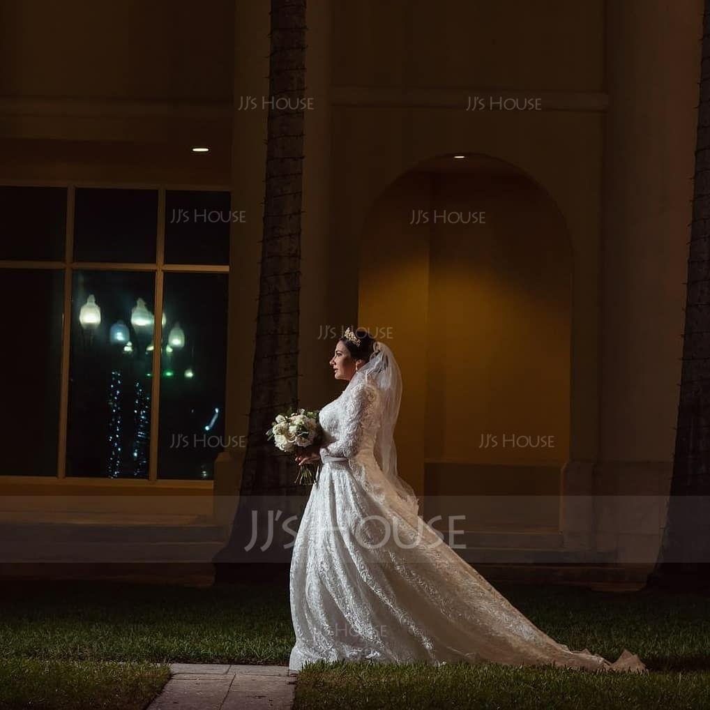 Ball-Gown/Princess Illusion Court Train Lace Wedding Dress (002186376)