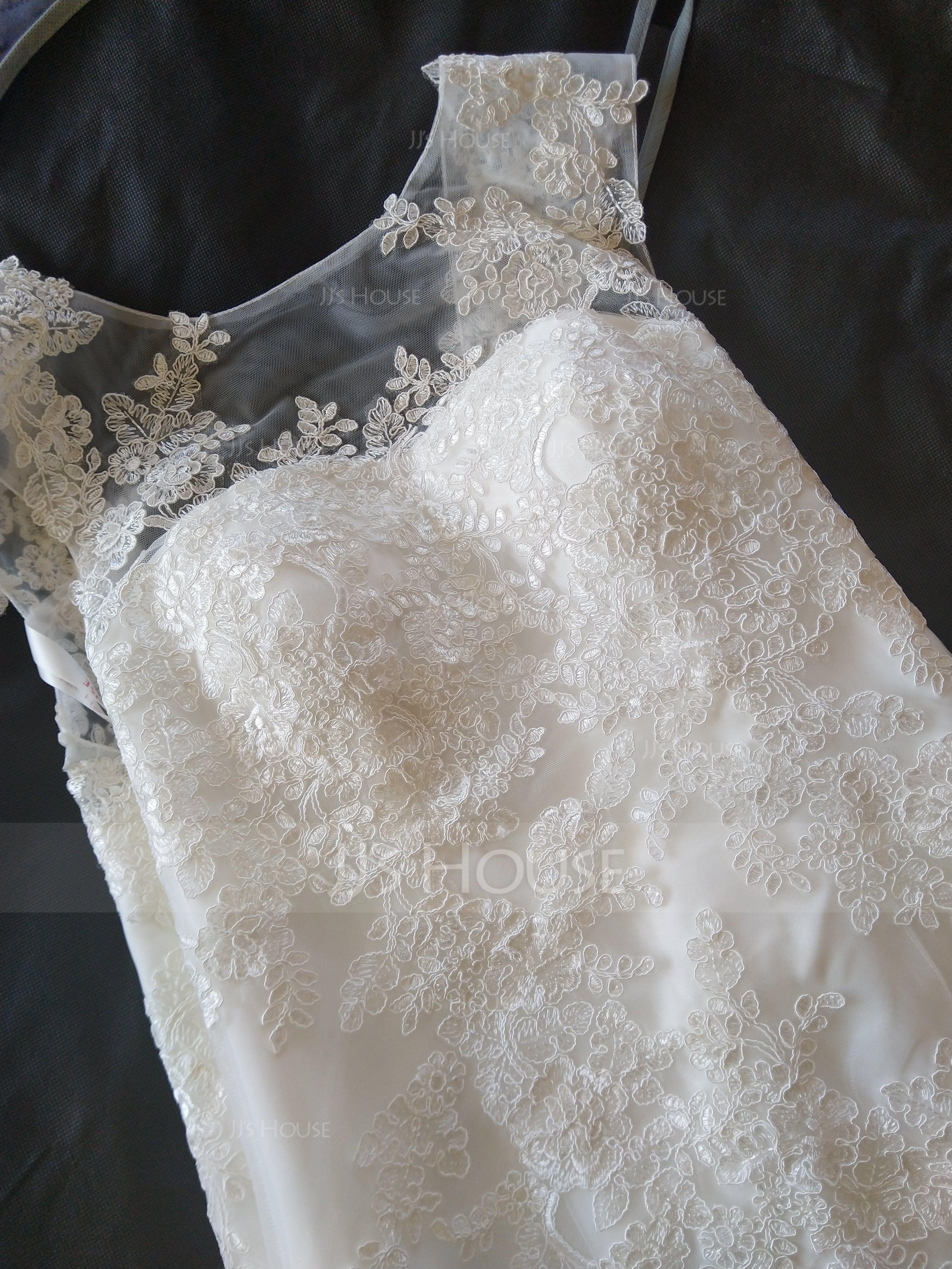 Trumpet/Mermaid Scoop Neck Floor-Length Tulle Lace Wedding Dress (002119797)