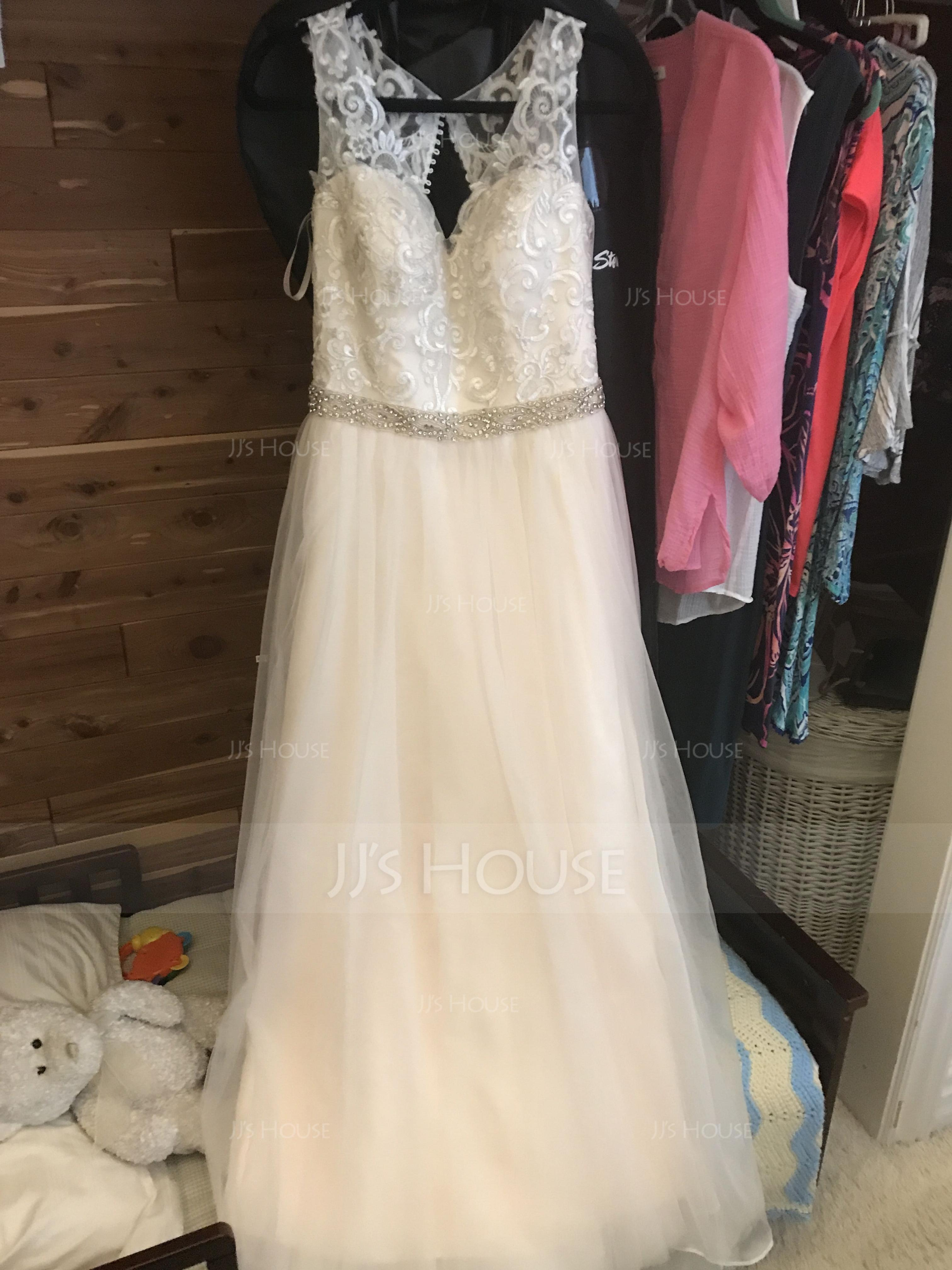 A-Line/Princess V-neck Sweep Train Tulle Wedding Dress With Beading (002145287)