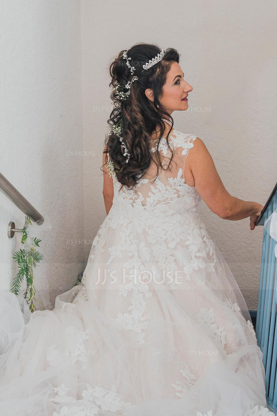 Duchesse-Linie/Princess Illusion Hof-schleppe Tüll Brautkleid mit Perlstickerei Pailletten (002153423)