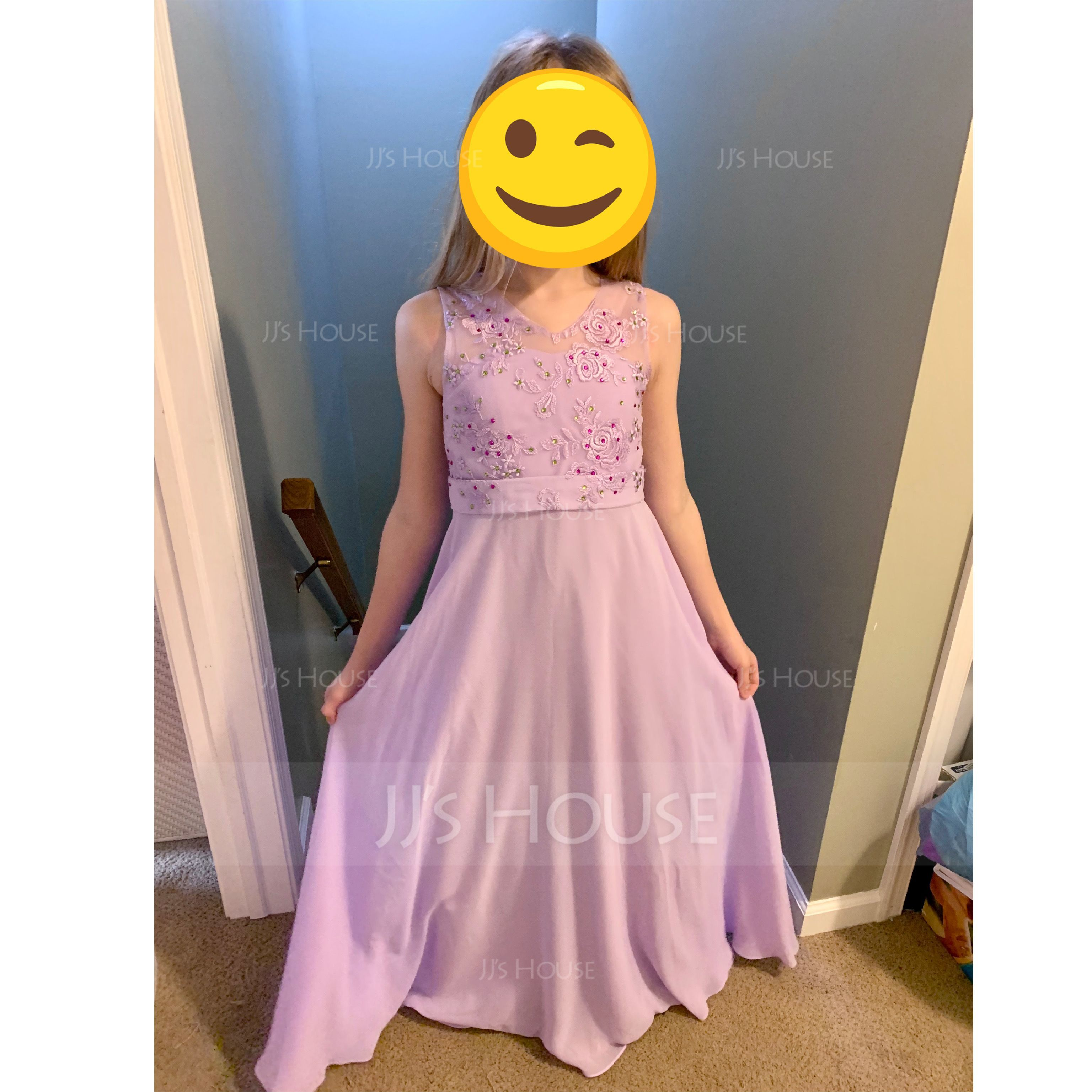 A-Line/Princess Scoop Neck Floor-Length Chiffon Junior Bridesmaid Dress With Beading Sequins (009119585)