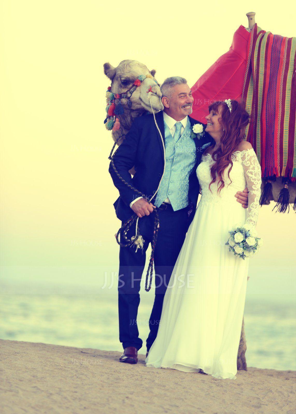 A-Line Off-the-Shoulder Floor-Length Chiffon Wedding Dress (002186363)